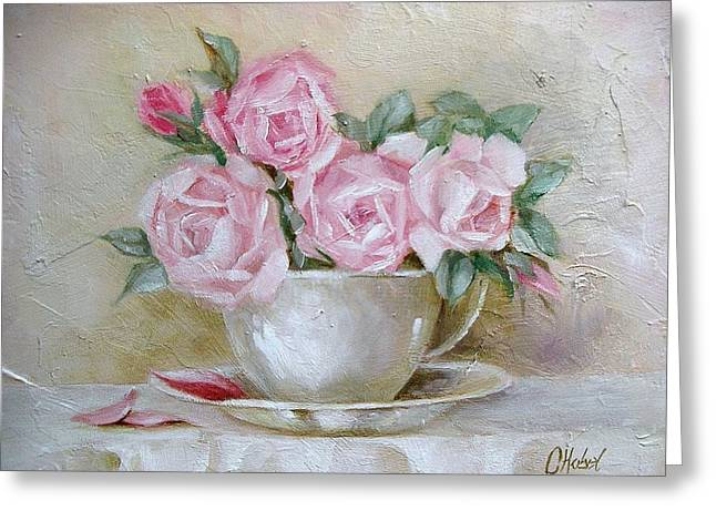 Greeting Card featuring the painting Cup And Saucer Roses by Chris Hobel