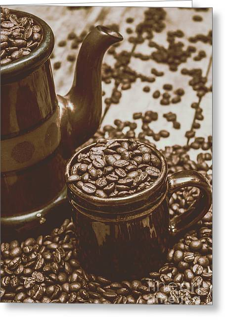 Cup And Teapot Filled With Roasted Coffee Beans Greeting Card by Jorgo Photography - Wall Art Gallery