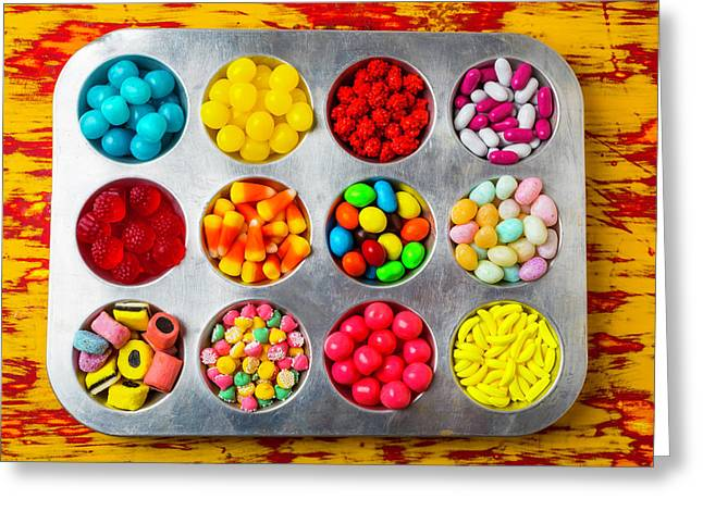 Cup Cake Tray Full Of Candy Greeting Card