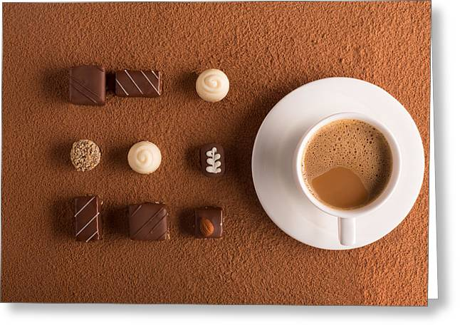 Cup Of Cappuccino And Chocolate Candies Greeting Card by Vadim Goodwill