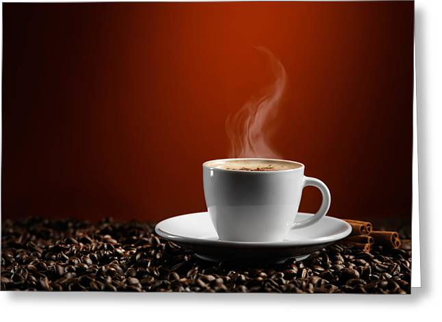 Cup Of Coffe Latte On Coffee Beans Greeting Card