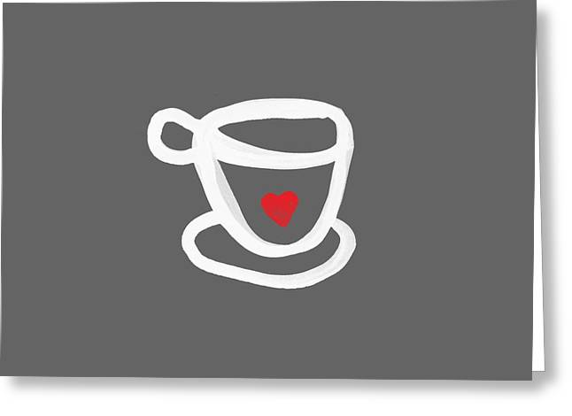 Cup Of Love- Shirt Greeting Card by Linda Woods