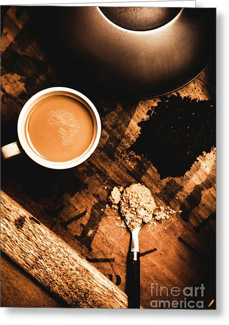 Cup Of Tea With Ingredients And Kettle On Wooden Table Greeting Card by Jorgo Photography - Wall Art Gallery