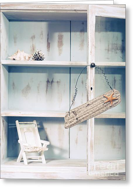 Cupboard With Beach Sign Greeting Card