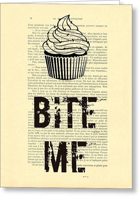Cupcake Bite Me Typography Greeting Card