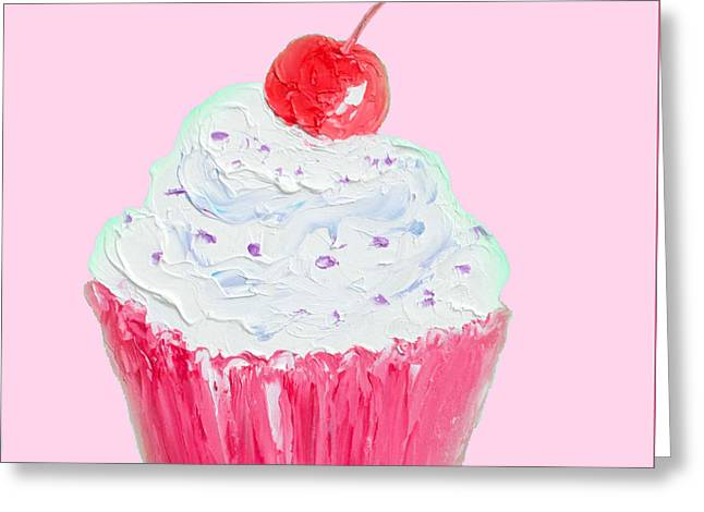 Cupcake Painting On Pink Background Greeting Card