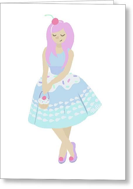 Cupcake Princess Greeting Card by Mollie Draws