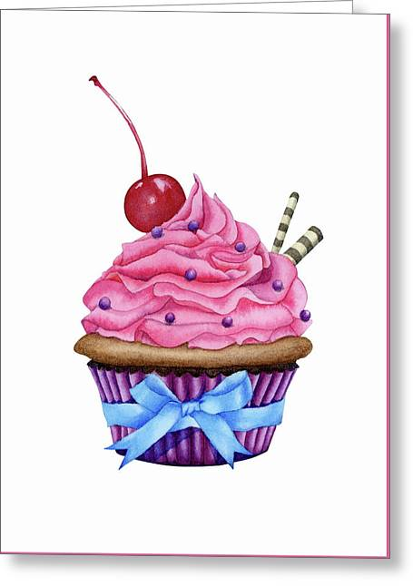 Cupcake Watercolor Greeting Card by Taylan Apukovska