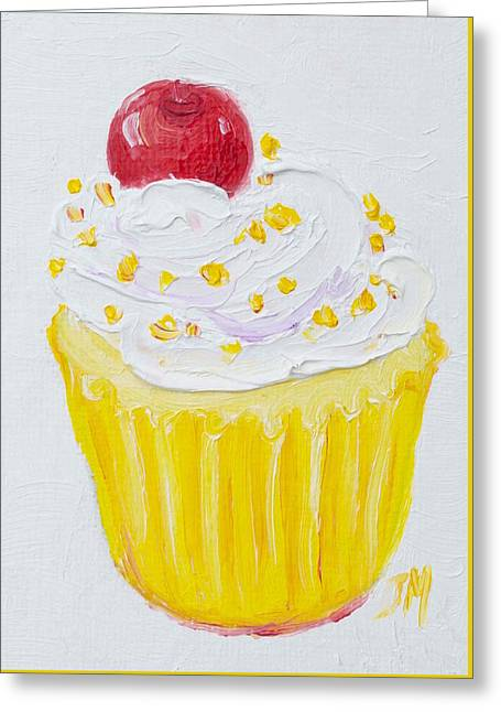 Cupcake With Vanilla Frosting And Cherry Painting Greeting Card by Jan Matson