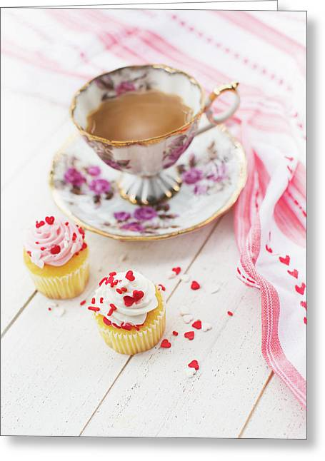 Greeting Card featuring the photograph Cupcakes And Coffee by Rebecca Cozart