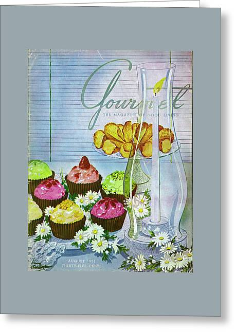 Cupcakes And Gaufrettes Beside A Candle Greeting Card by Henry Stahlhut