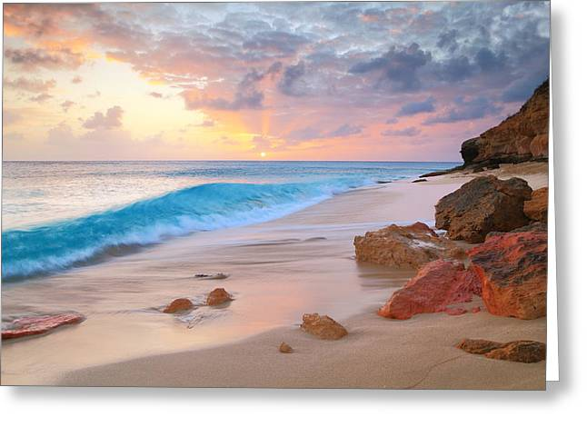 Cupecoy Beach Sunset Saint Maarten Greeting Card