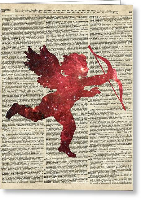 Cupid Amor Space And Stars Digital Collage Dictionary Art Greeting Card by Jacob Kuch