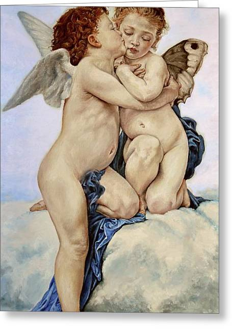 Cupid And Psyche Reproduction William Adolphe Bouguereau  Greeting Card by Heidi Kriel
