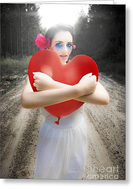 Cupid Hugging Love Heart Balloon Greeting Card by Jorgo Photography - Wall Art Gallery