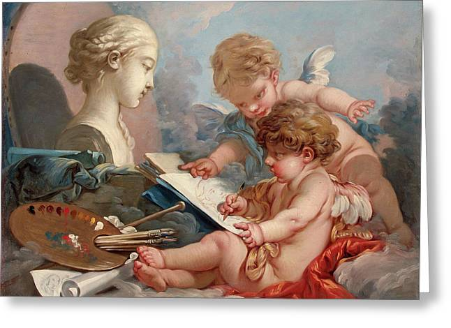 Cupids, Allegory Of Painting Greeting Card by Francois Boucher