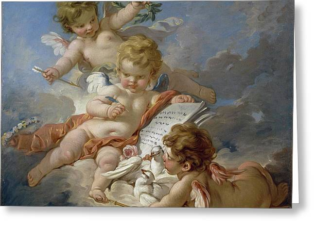 Cupids, Allegory Of Poetry Greeting Card by Francois Boucher
