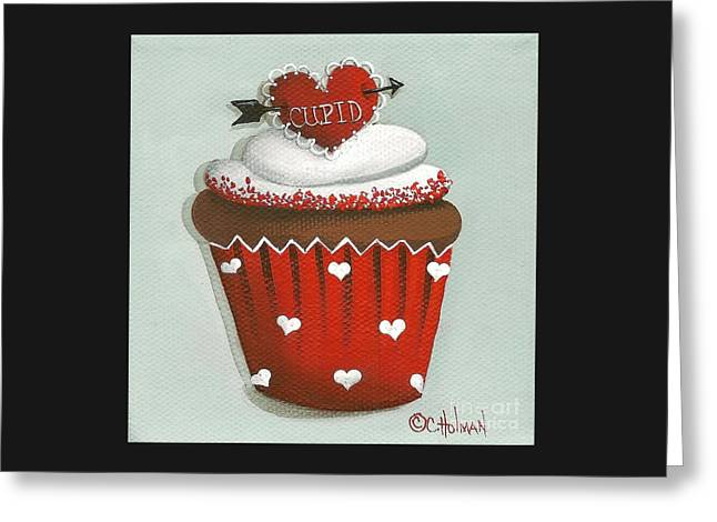 Cupid's Arrow Valentine Cupcake Greeting Card by Catherine Holman