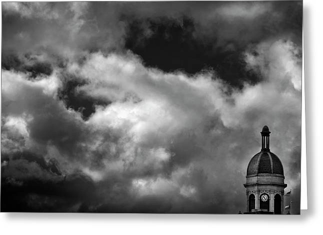 Cupola And Sky In Black And White Greeting Card by Greg Mimbs