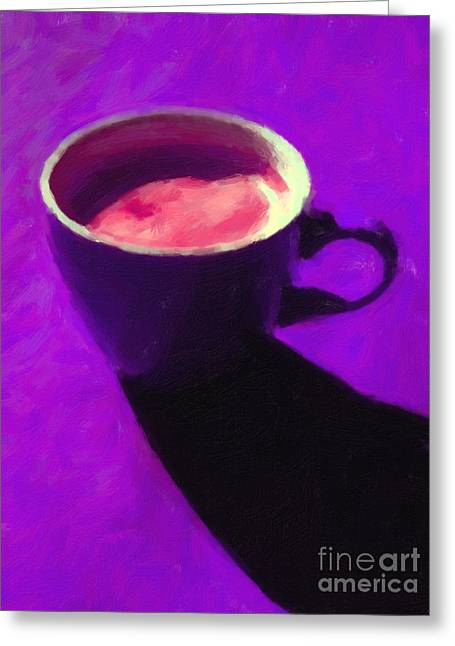 Cuppa Joe - Purple Greeting Card by Wingsdomain Art and Photography