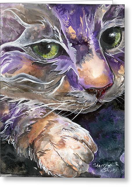 Greeting Card featuring the painting Curiosity by Sherry Shipley