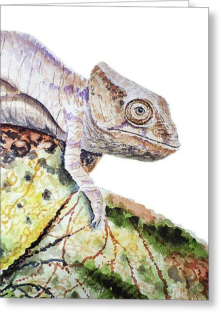 Greeting Card featuring the painting Curious Baby Chameleon by Irina Sztukowski