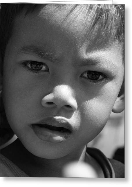 Curious Cambodian Child Greeting Card by Linda Russell
