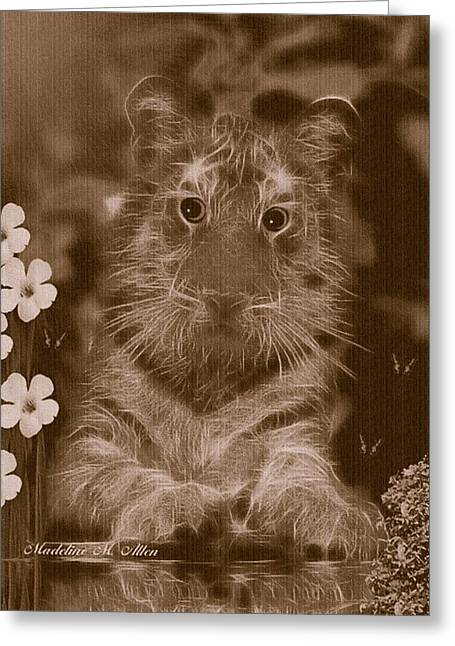 Curious Kitty Greeting Card by Madeline  Allen - SmudgeArt