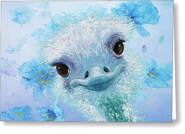 Curious Ostrich Greeting Card by Jan Matson