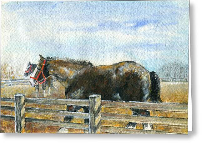Greeting Card featuring the painting Curious Pair by Mary Armstrong