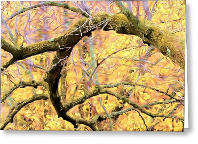 Curled Branch In Yellow Greeting Card