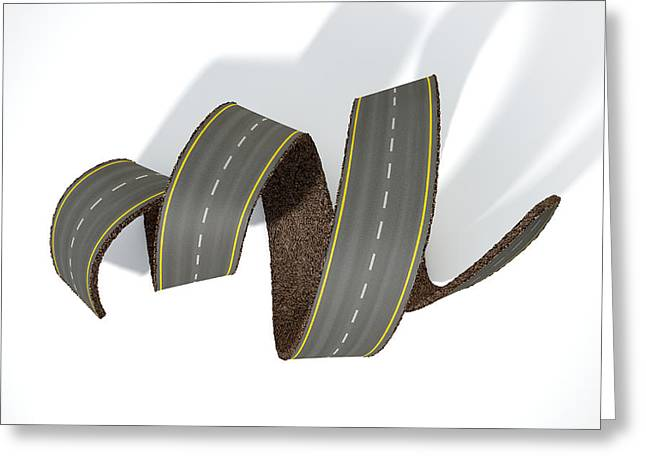 Curled Road Greeting Card by Allan Swart