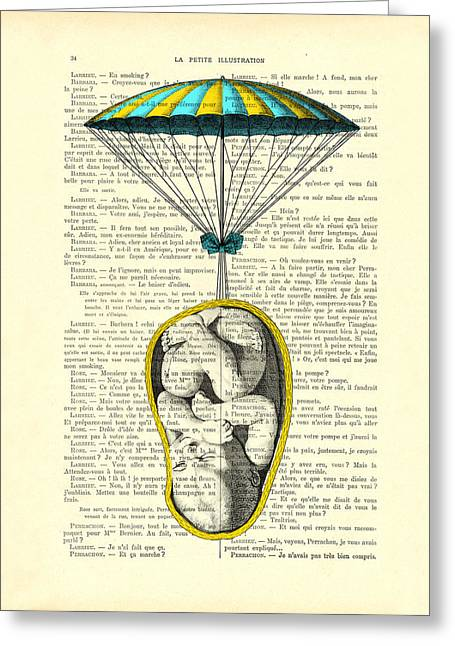 Curled Up Baby With Parachute Greeting Card
