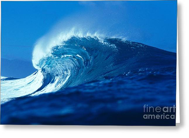 Curling Blue Wave Greeting Card by Vince Cavataio - Printscapes