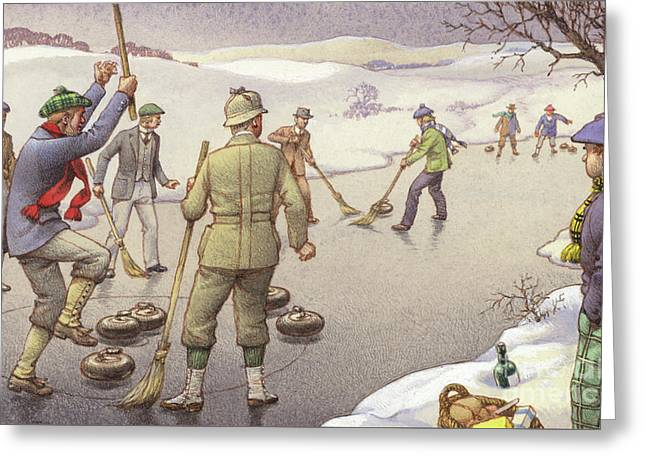 Curling In Scotland Greeting Card