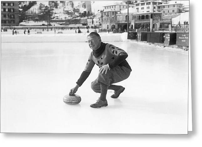 Curling In St. Moritz Greeting Card by Underwood Archives