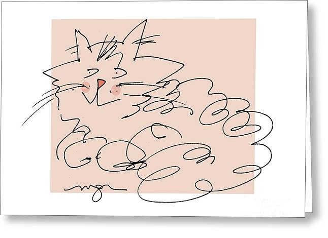 Curly Cat Greeting Card