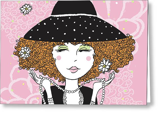 Curly Girl In Polka Dots Greeting Card