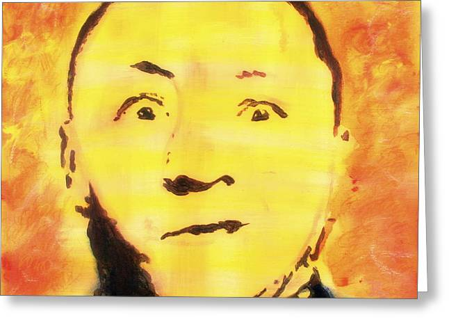 Greeting Card featuring the painting Curly Howard Three Stooges Pop Art by Bob Baker