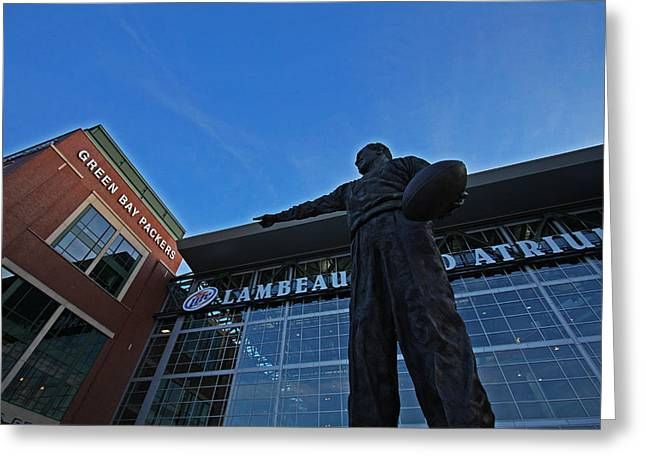 Lambeau Field Photographs Greeting Cards - Curly Lambeau Greeting Card by Ty Helbach