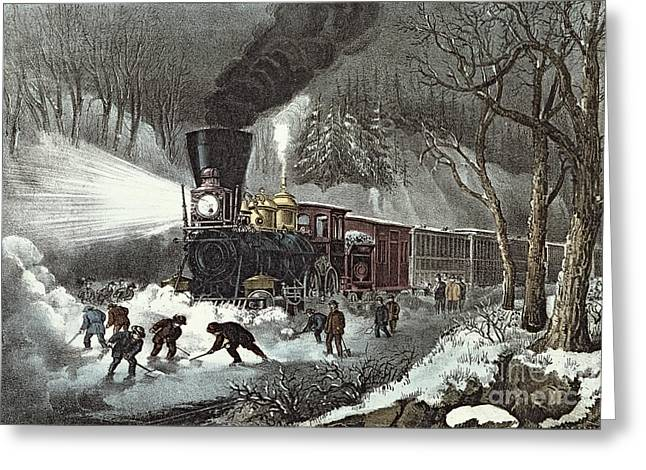 Past Paintings Greeting Cards - Currier and Ives Greeting Card by American Railroad Scene