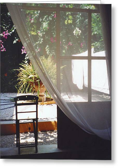 Curtain Greeting Card by Andrea Simon