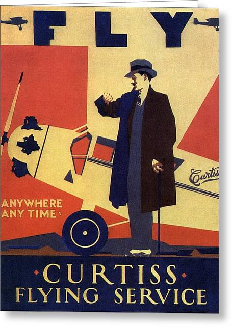 Curtiss Flying Service - Art Deco Poster - Vintage Advertising Poster  Greeting Card