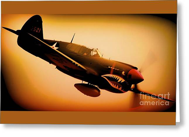 Curtiss P-40 Warhawk Angry Tiger Greeting Card by Gus McCrea