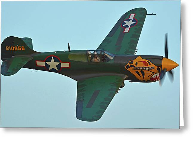 Greeting Card featuring the photograph Curtiss P-40k Warhawk N401wh Chino California April 29 2016 by Brian Lockett