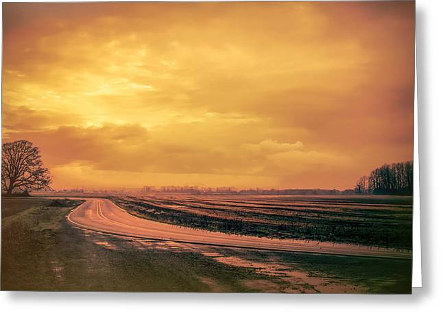 Bend In The Road Greeting Card by Don Schwartz