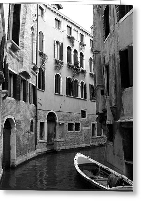 Curved Canal Greeting Card by Donna Corless