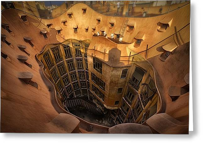 Curves Of Gaudi Greeting Card by Kurt Hansen
