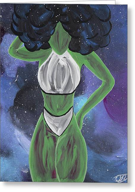 Curves Out Of This World Greeting Card by Cyrionna The Cyerial Artist
