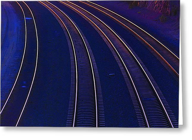 Curving Railroad Tracks Greeting Card